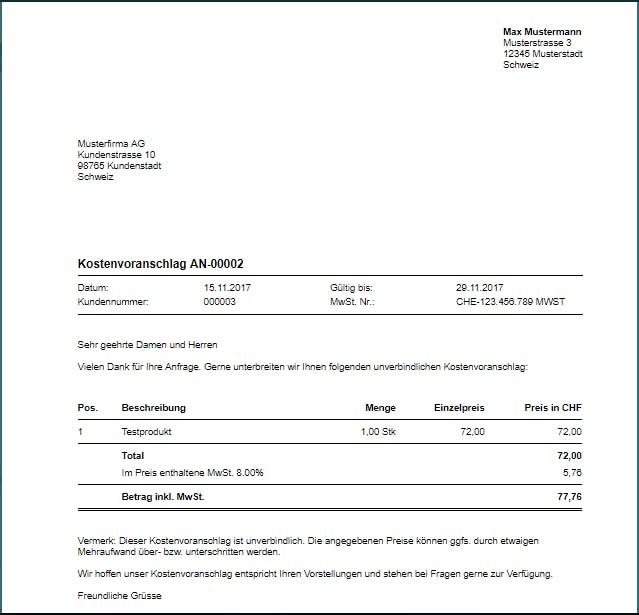 Kostenvoranschlag Online Erstellen In 3 Schritten Vorlage Bexio